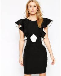 Y.A.S Ruffle Short Sleeve Dress With Contrast White Panel - Lyst