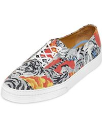 Kenzo Tiger Print Leather Sneakers - Lyst