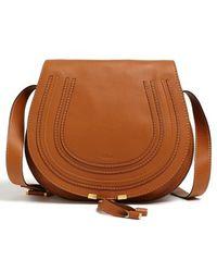 Chlo�� Marcie Medium Perforated Leather Shoulder Bag in Brown ...