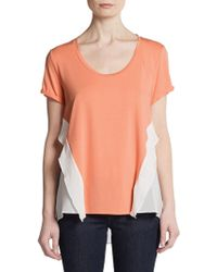 Sachin & Babi Angelina Mixed Media Ruffle Top - Lyst
