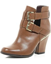 River Island Tan Cut Out Buckle Western Ankle Boots - Lyst