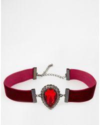 Asos Velvet Jewel Choker Necklace - Lyst