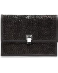 Proenza Schouler Large Woven Leather Lunch Bag Clutch Black - Lyst