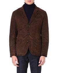 Brunello Cucinelli Tailored Suede Jacket Brown - Lyst