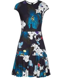 Erdem Darlina Ohana Orchid-Print Jersey Dress blue - Lyst