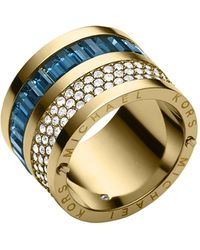 Michael Kors Golden Pavemontana Baguette Barrel Ring - Lyst