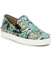 Christian Louboutin Studded Printed Python Skate Sneakers blue - Lyst