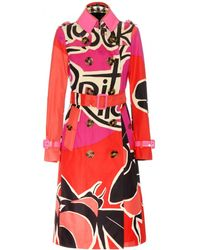 Burberry Prorsum Printe Cotton Trench Coat  pink - Lyst