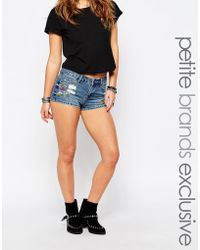 Noisy May Petite - Embroidered Denim Short - Lyst