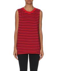 Izzue - Striped Cotton-jersey Top, Women's, Size: M, Dark Red - Lyst