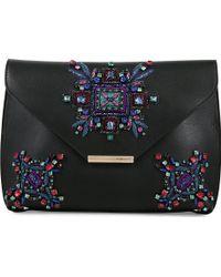 Emilio Pucci Stone Embellished Envelope Clutch Black - Lyst