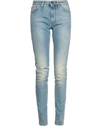 Saint Laurent High-rise Distressed Skinny Jeans - Lyst