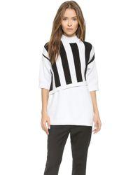 3.1 Phillip Lim Stripe Overlay Sweater - White/Black - Lyst