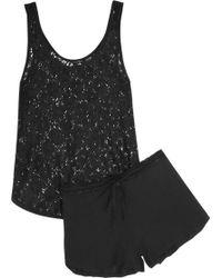 Elle Macpherson - Hippy Crochet-knit and Stretch-jersey Pajama Set - Lyst