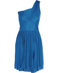 Halston Heritage One-Shoulder Plissã© Jersey Dress - Lyst