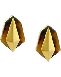 Vince Camuto Gold Tone Tortoiseshell Geometric Stud Earrings - Lyst