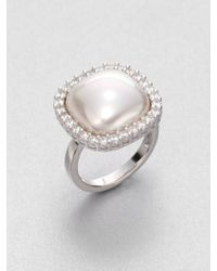 Majorica - 15Mm White Square Mabe Pearl & Sterling Silver Halo Ring - Lyst