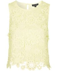 Topshop 3D Crochet Floral Shell Top - Lyst