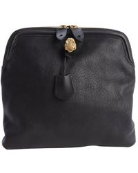 Alexander McQueen Black Leather Skull Padlock Folded Clutch - Lyst