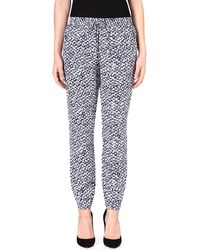 Michael by Michael Kors Batik-print Silk Trousers Navy - Lyst
