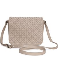 Bottega Veneta Small Woven Flap Crossbody Bag - Lyst