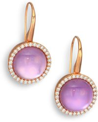 Roberto Coin Cocktail Amethyst, Mother-Of-Pearl, Diamond & 18K Rose Gold Drop Earrings - Lyst