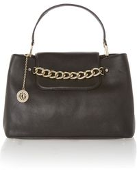 DKNY Chelsea Black Large Tote Bag with Chain Detail - Lyst