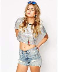 Jaded London - Cropped T-shirt In Holographic Fabric - Lyst