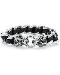 "Palmbeach Jewelry - Men's Tiger Head Curb-link Bracelet In Stainless Steel And Black Leather 8 1/4"" Length - Lyst"