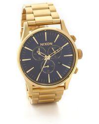 Nixon Sentry Chrono Watch - Gold/Blue - Lyst