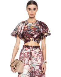 Zimmermann Tamer Floral Wrap Top - Lyst