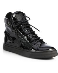 Giuseppe Zanotti Patent Double Zip High-Top Sneakers - Lyst