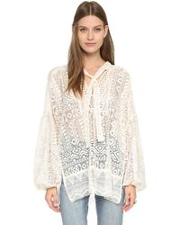 Anna Sui | Folklore Lace Blouse - Ivory Multi | Lyst