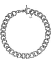 Michael Kors Silvertone Pave Curb-Link Toggle Necklace - Lyst