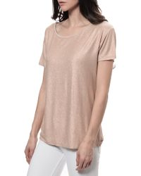 Majestic Metallic Crew Neck Tee - Lyst