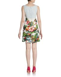 Dolce & Gabbana Printed Lacepaneled Dress - Lyst