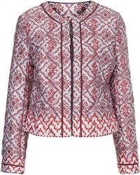 Topshop Womens Quilted Tile Print Jacket  Red - Lyst