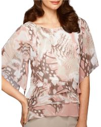 Alex Evenings Patterned Tiered Blouse - Lyst