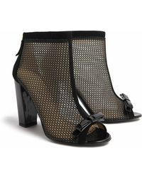 Moschino Cheap & Chic Suede Mesh Open Toe Boots - Lyst