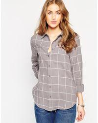 ASOS | Boyfriend Shirt In Grey And Cream Check | Lyst
