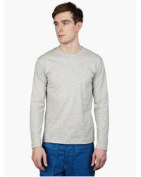 Comme des Garçons Men'S Grey Long-Sleeved Cotton T-Shirt - Lyst