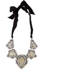 Lanvin Crystal Bib Necklace With Ribbons - Lyst