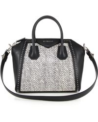 Givenchy   Antigona Small Studded Leather & Spotted Snakeskin Satchel   Lyst
