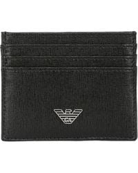 Emporio Armani Embossed Leather Card Holder - Lyst