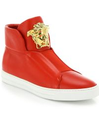 Versace First Idol Leather High-Top Sneakers red - Lyst