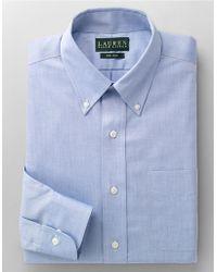 Lauren by Ralph Lauren Regular Fit Non-Iron Blue Pin-Point Dress Shirt - Lyst