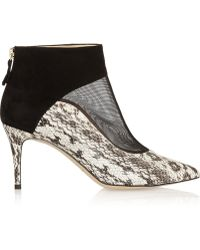 Bionda Castana | Olga Elaphe, Suede And Mesh Ankle Boots | Lyst
