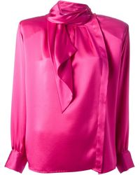 Yves Saint Laurent Vintage Wrap Collar Blouse - Lyst