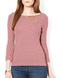 Ralph Lauren Lauren Three Quarter Sleeve Knit Tee - Lyst