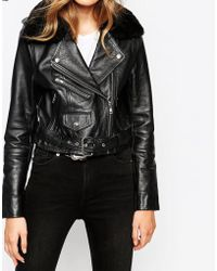 Hide - Lis Cropped Biker Jacket With Shearling Collar - Lyst